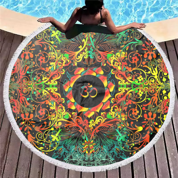 Mandala Orange Om Beach Blanket