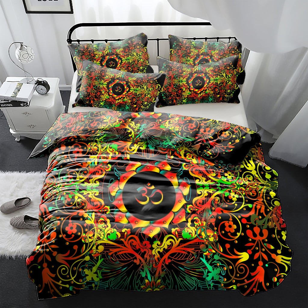 Mandala Orange Om Bedding Set