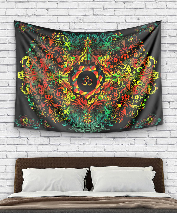 Mandala Orange Om Tapestry