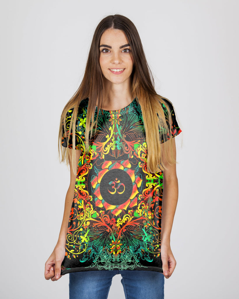 Mandala Orange Om Women's T-Shirt