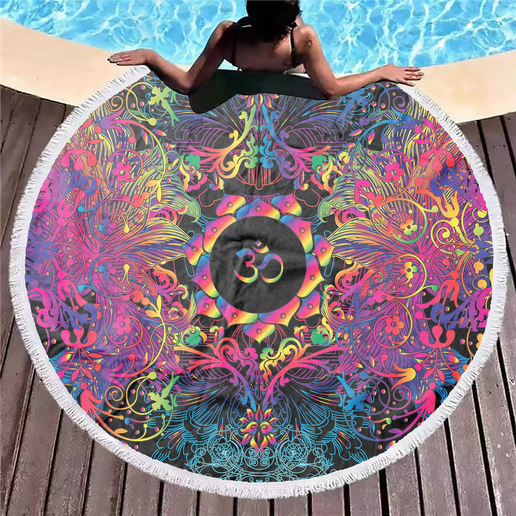 Mandala Purpel Om Beach Blanket