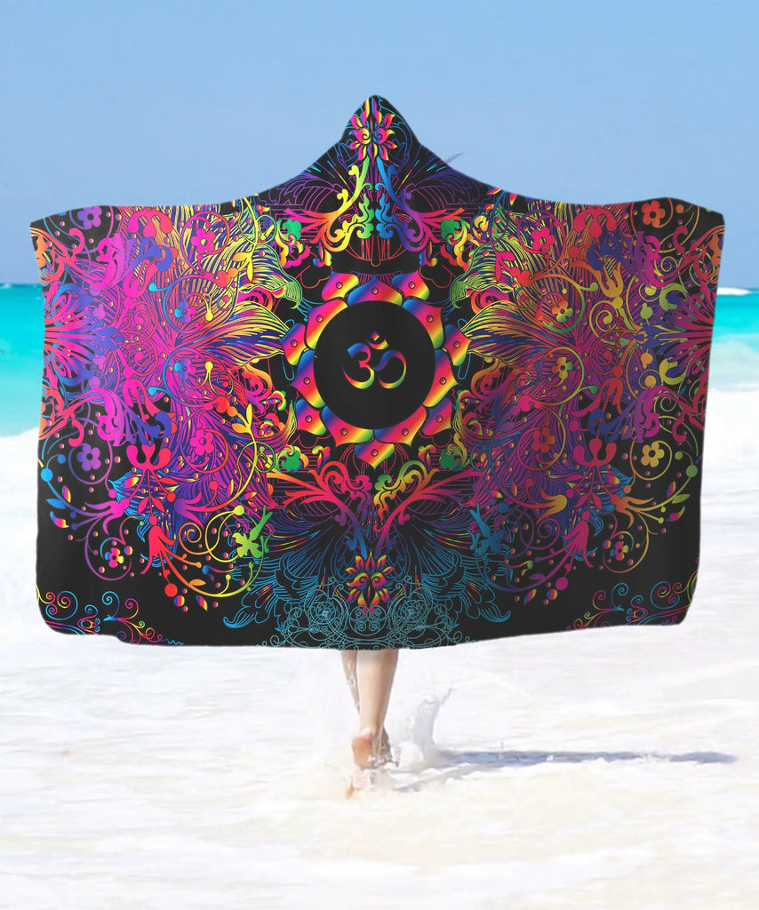 Mandala Purple Om Hooded Blanket