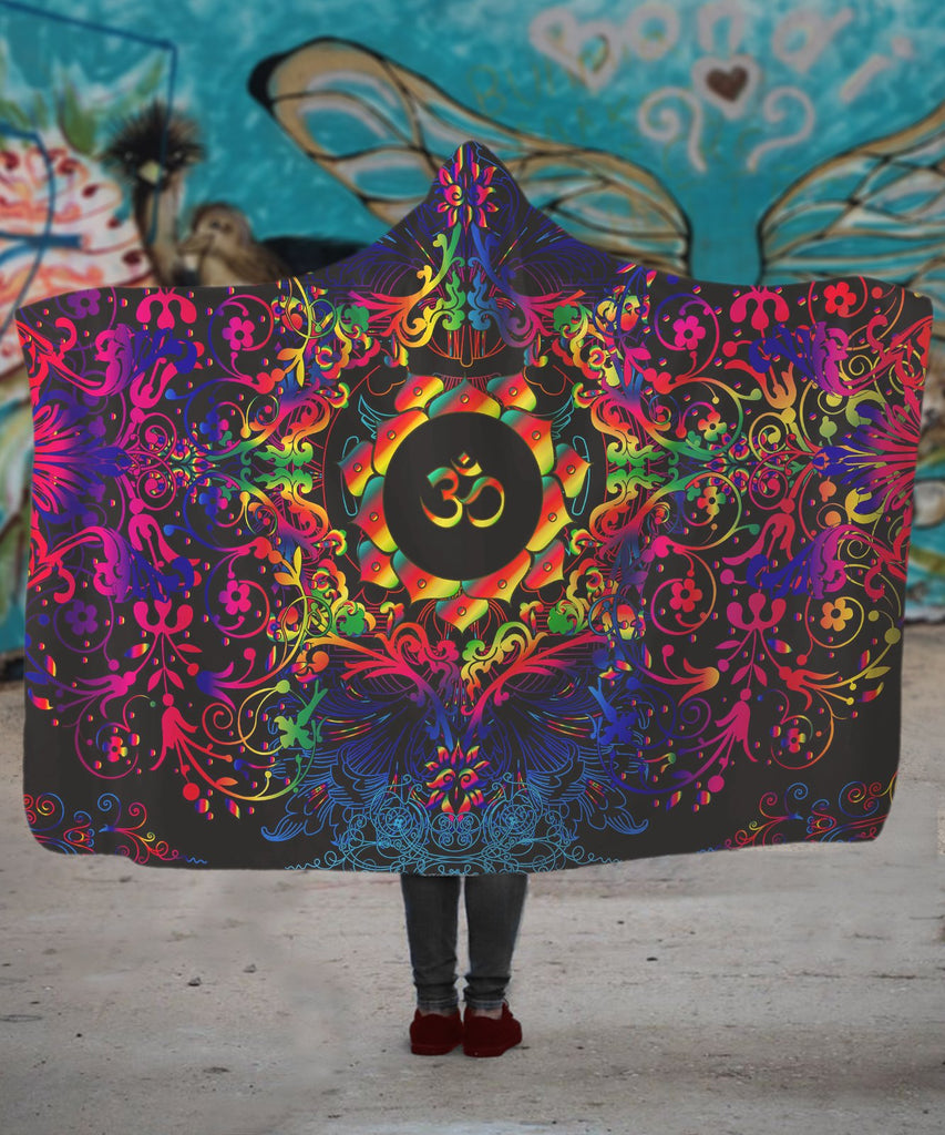 Mandala RGB Om Hooded Blanket