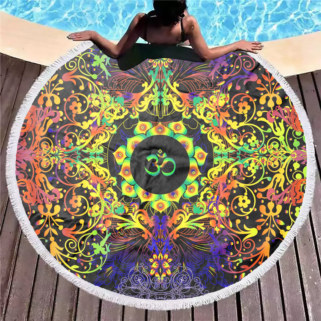 Mandala Yellow Om Beach Blanket