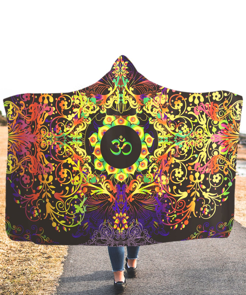 Mandala Yellow Om Hooded Blanket