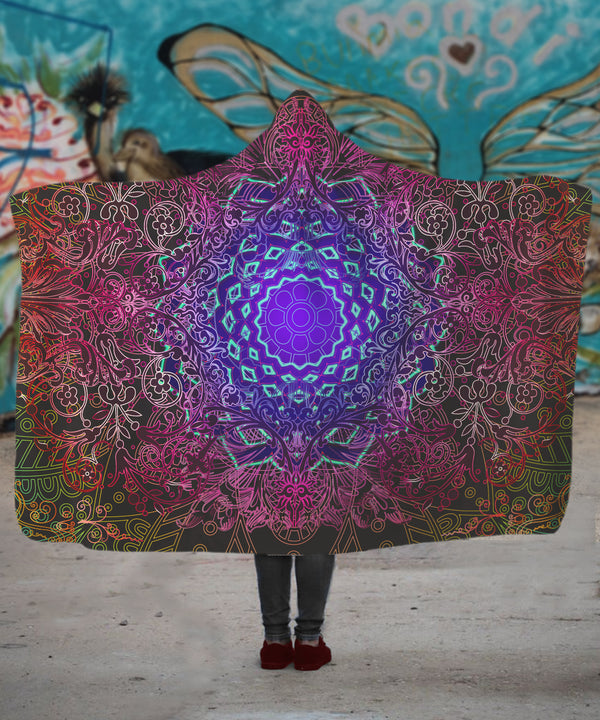 Neon Purple Flower Hooded Blanket