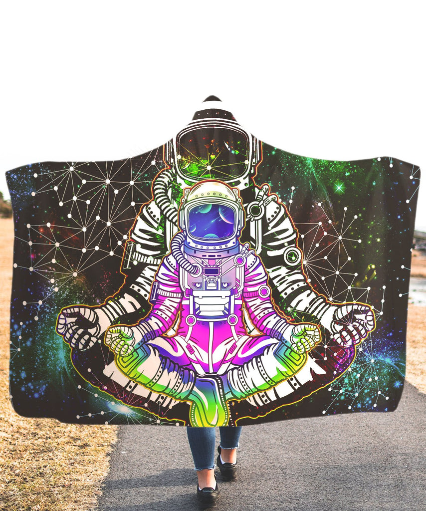 Trippy Astronaut Pink Hooded Blanket
