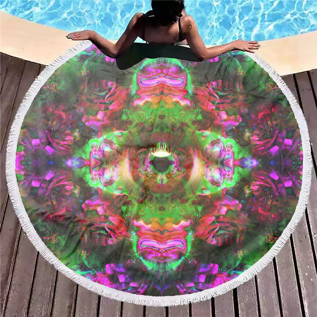 Psy Rose Eye Beach Blanket