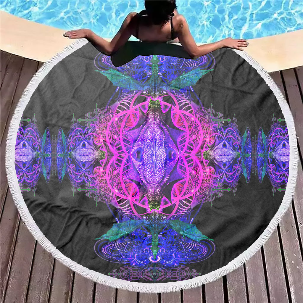 Dragon Snake Purple Beach Blanket - ShantiBanti