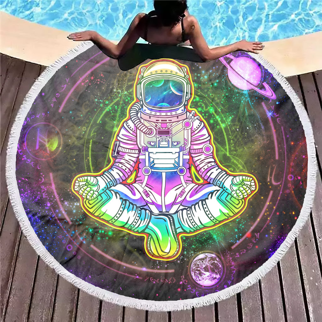Geometric Astronaut Purple Beach Blanket - ShantiBanti