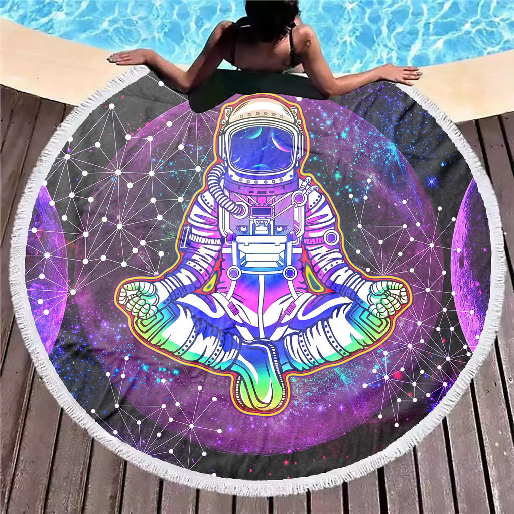 Geometric Moon Astronaut Purple Beach Blanket - ShantiBanti