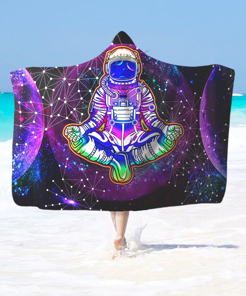 Geometric Moon Astronaut Purple Hooded Blanket - ShantiBanti