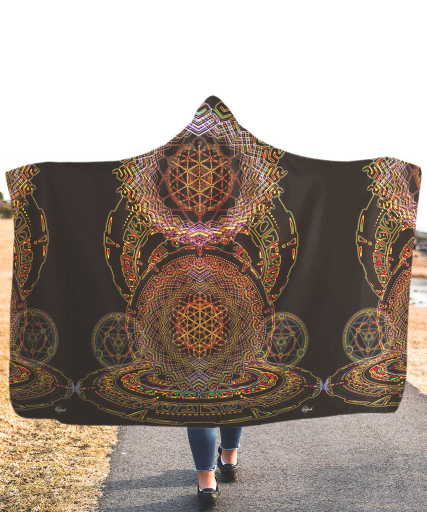 Rainbow Mandala Hooded Blanket