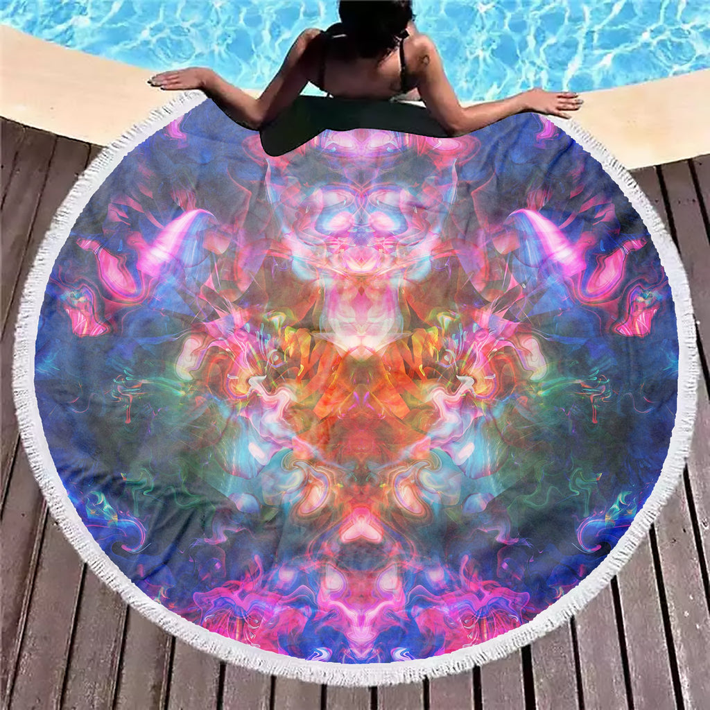 Rose Trippy Flower Beach Blanket