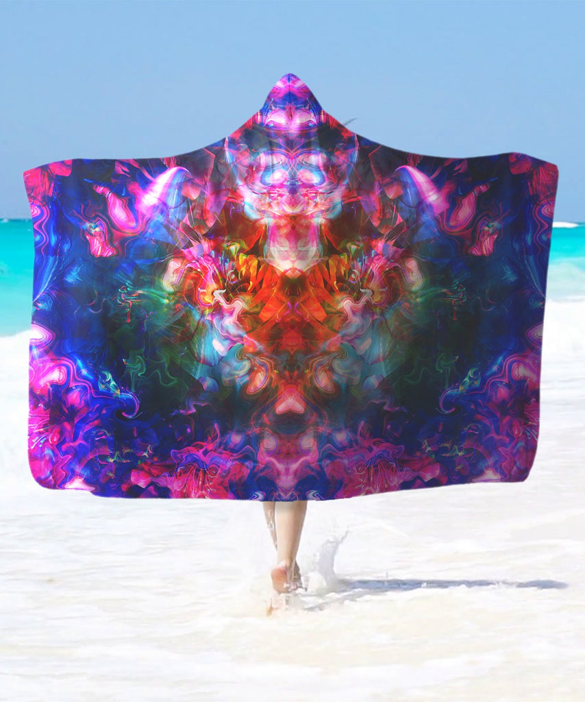 Rose Trippy Flower Hooded Blanket