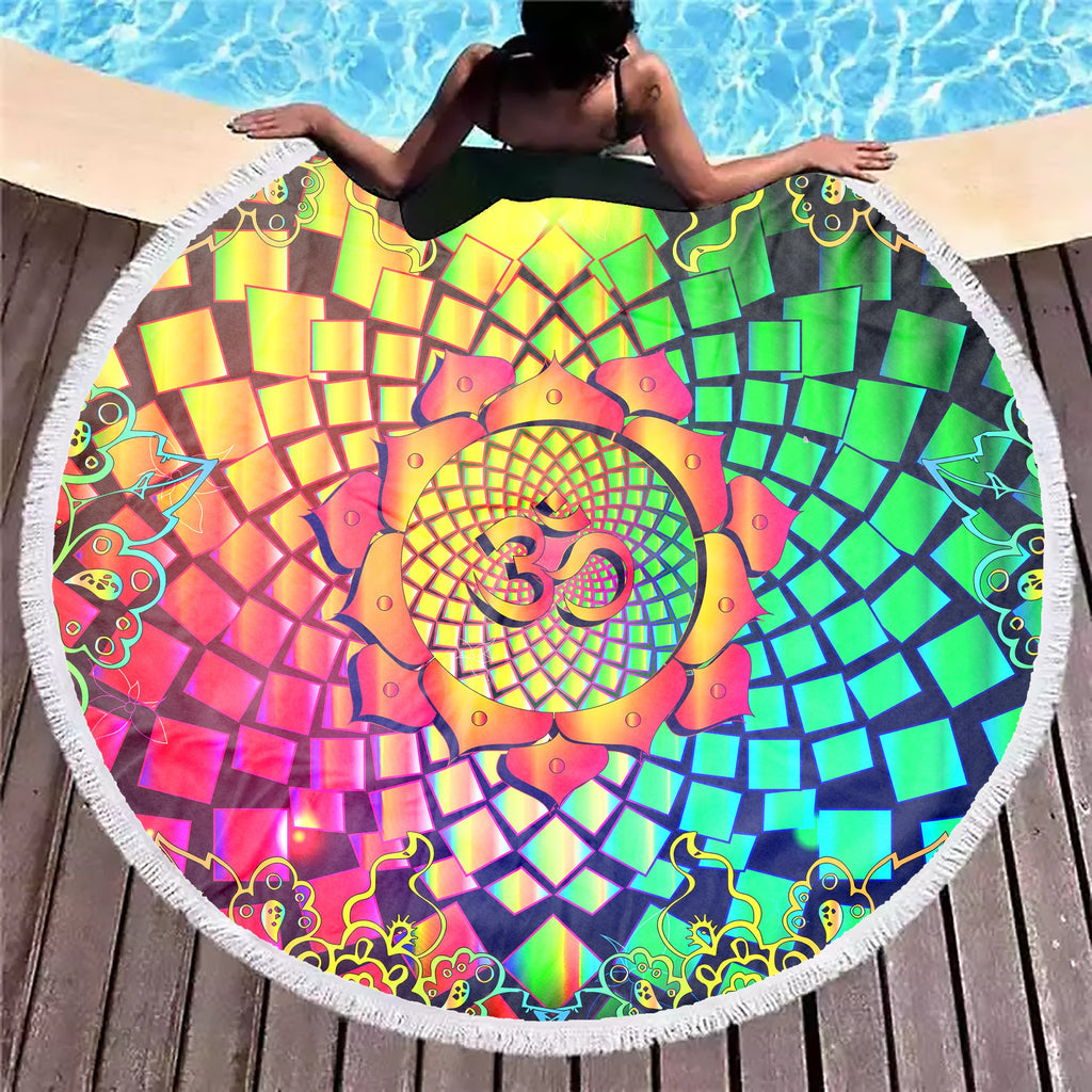 Trippy Mandala Om Beach Blanket