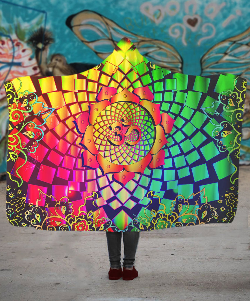 Trippy Mandala Om Hooded Blanket