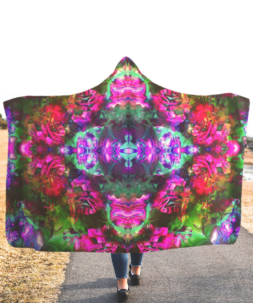 Trippy Rose Green Hooded Blanket