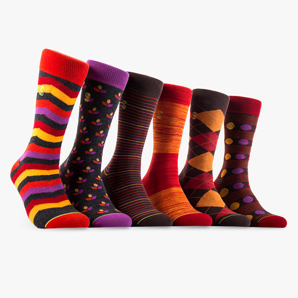 Men's Crew Socks in Orange, Brown and Red