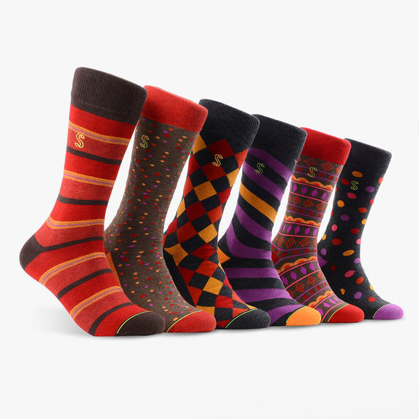 Men's Crew Socks in Red, Brown and Charcoal