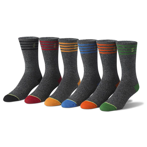 Men's Crew Patterned and Solid Socks in Green, Blue and Orange