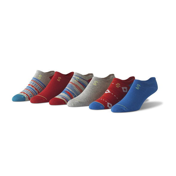 view of no show, grey, blue and red Sock