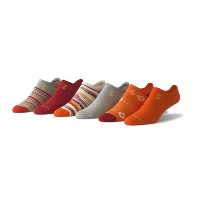view of no show, grey, orange and red Sock