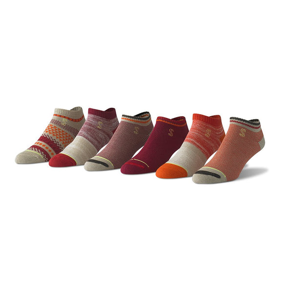 view of no show, khaki, orange and cranberry Sock