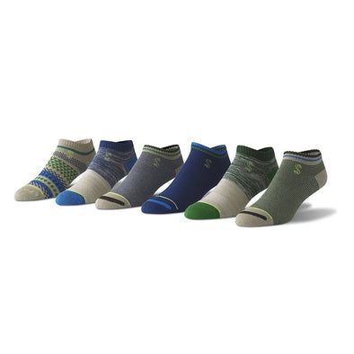 view of no show, khaki, blue and green Sock