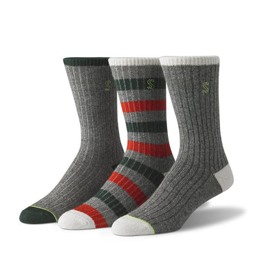 view of crew, grey, orange and green Sock