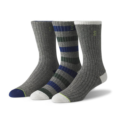 view of crew, grey, green and blue Sock