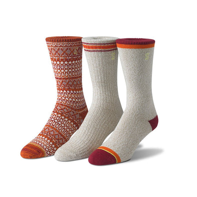 view of crew, khaki, orange and cranberry Sock