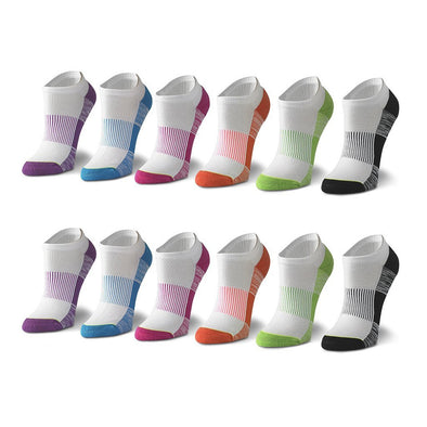 Women's No Show Striped Socks in Multicolored