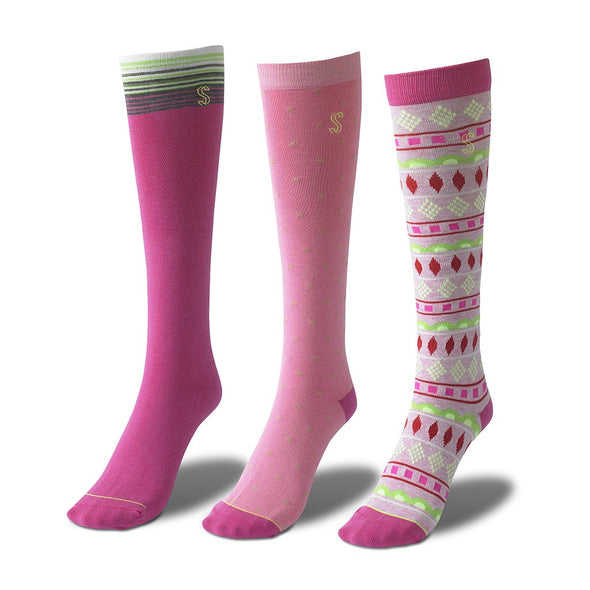 view of knee high, pink and green Sock