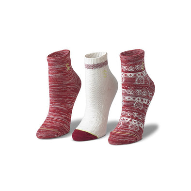 view of ankle, natural and cranberry Sock
