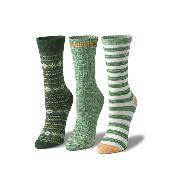 view of crew, green, natural and green Sock