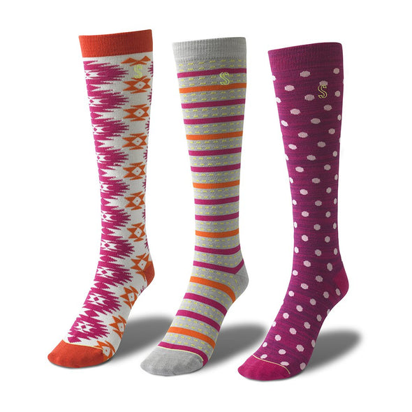 Women's Knee High Dotted, Patterned and Striped Socks in Orange and Pink