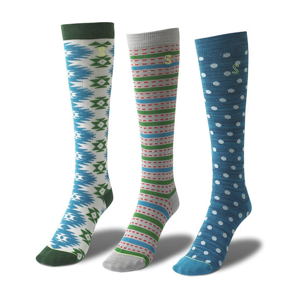 view of knee high, blue, teal and green Sock
