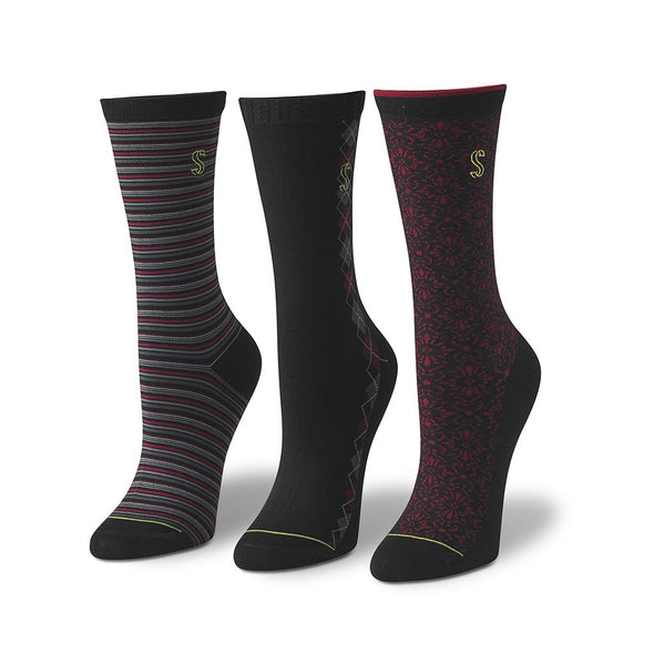 view of crew, black and cranberry Sock