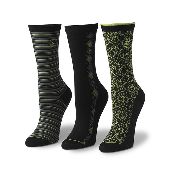 Women's Crew Striped, Argyle and Floral Socks in Black and Green