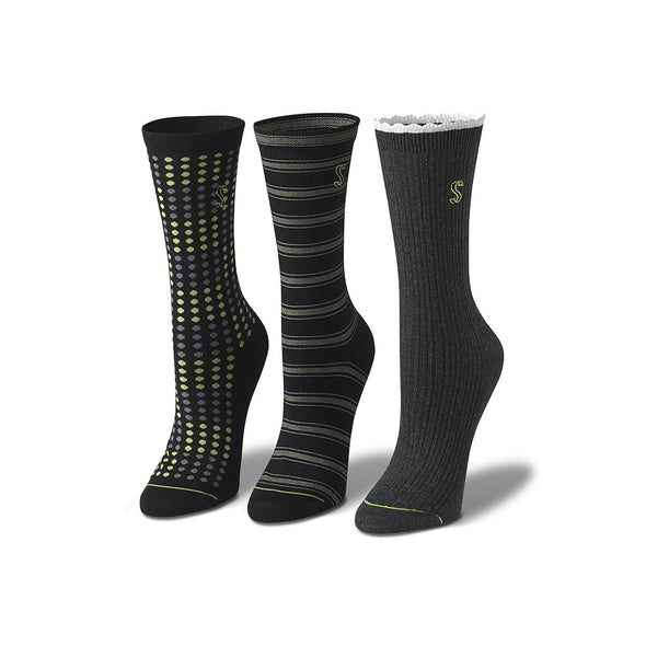 Women's Crew Striped, Dotted and Solid Socks in Black and Green
