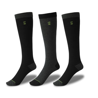 Women's Knee High Solid Socks in Black and Charcoal