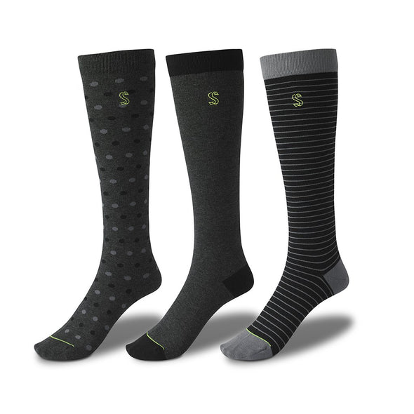 view of knee high, black and grey Sock