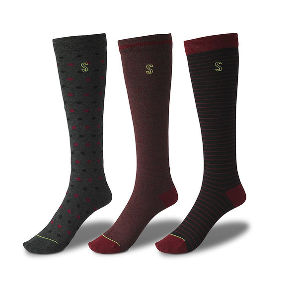 view of knee high, black and cranberry Sock