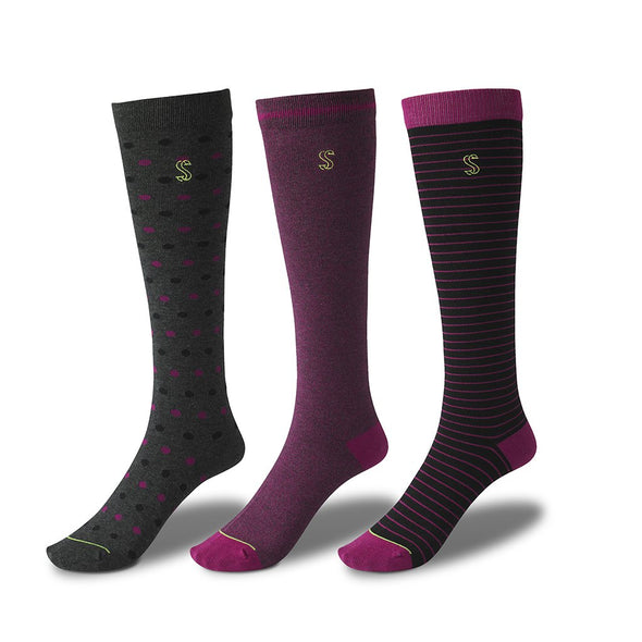 view of knee high, black and pink Sock