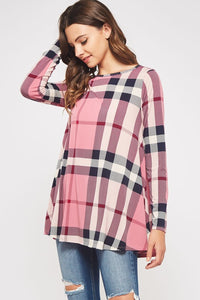 Pretty Pink Plaid Top