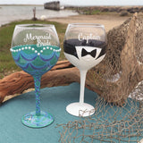 Mermaid Bride & Captain Wine Glass