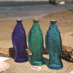 Glass Fish Bottle with Cork
