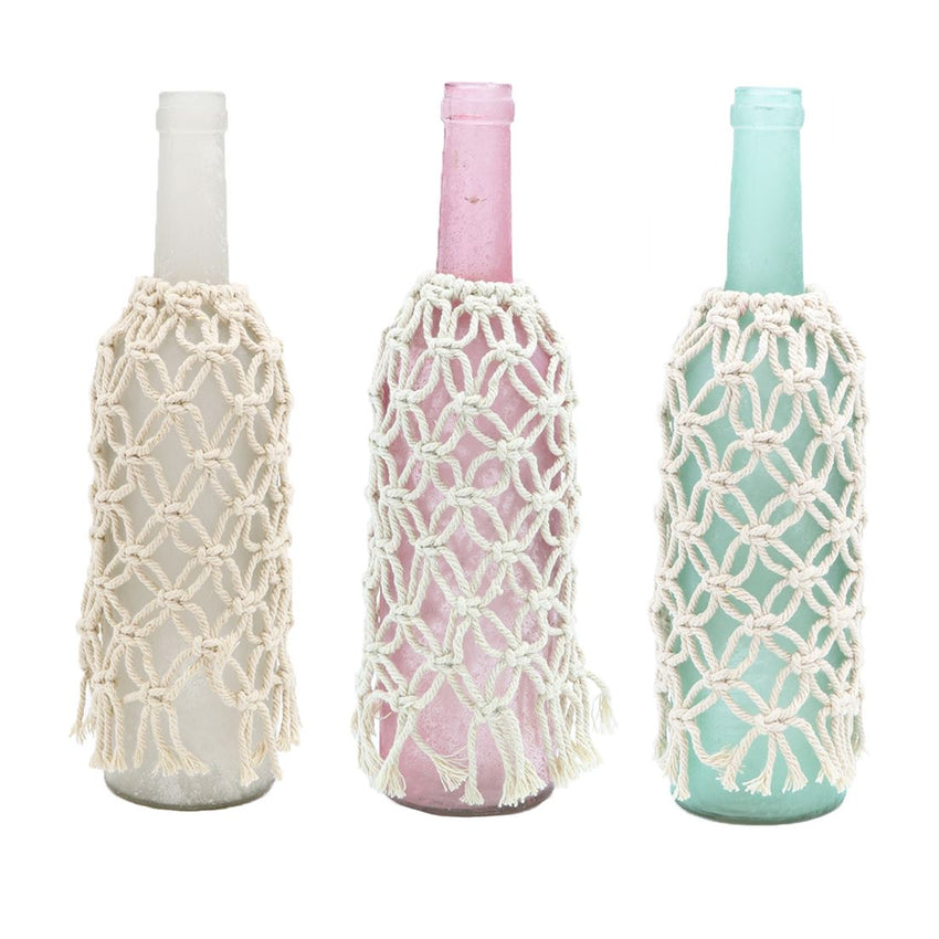 Frosted Glass Bottle with Macrame Cover