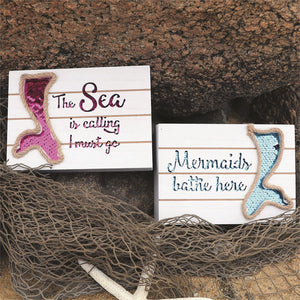 Glitter Mermaid Tail Wall Sign